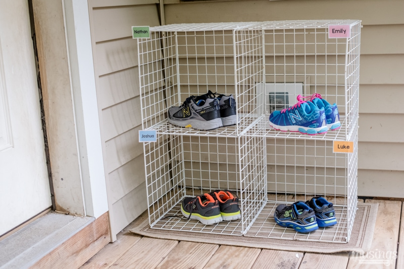 Easy shoe organizer for kids living well mom for Rack room kids shoes