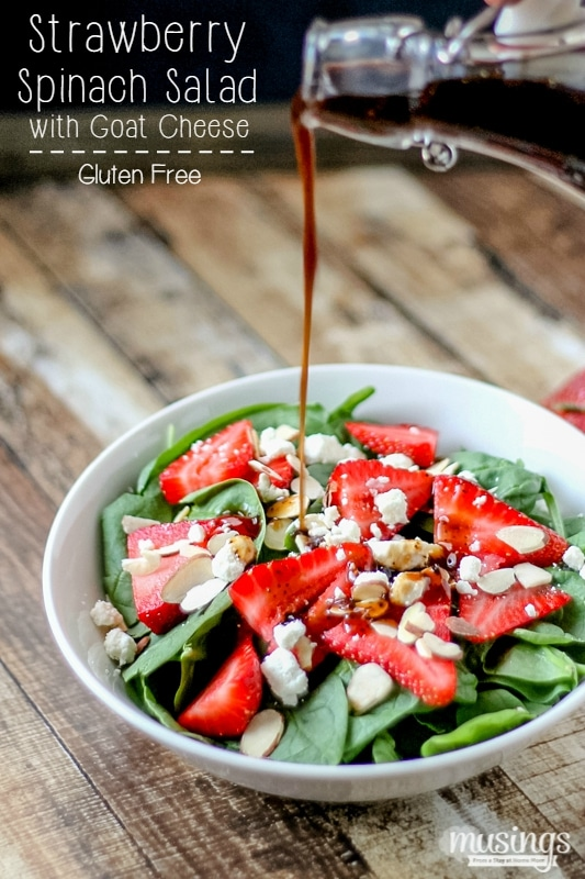 This easy recipe for Strawberry Spinach Salad with Goat Cheese is a delicious way to add more greens to your diet, plus it has protein and is gluten free!