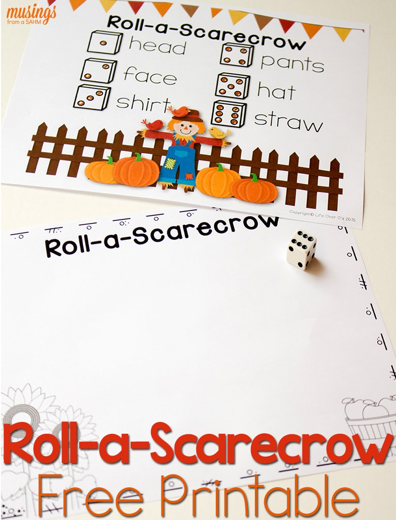 This free fall printable is a fun activity for kids as we head into the fall season. Roll-a-scarecrow and enjoy watching your children learn numbers and inspire creativity with this simple, low-prep idea!