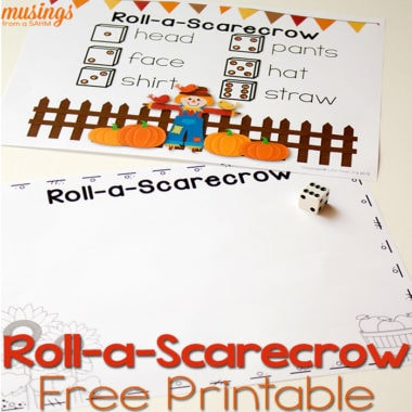 This free printable activity for fall is so much fun! Roll-a-Scarecrow is a great way to learn numbers and get creative.