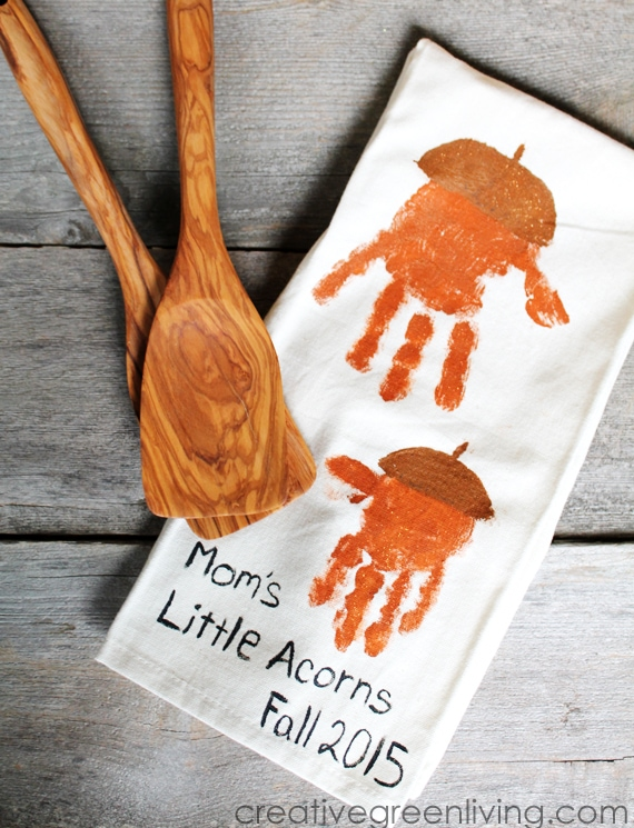 Kids Craft Ideas for Fall - make handprint acorn kitchen towels!