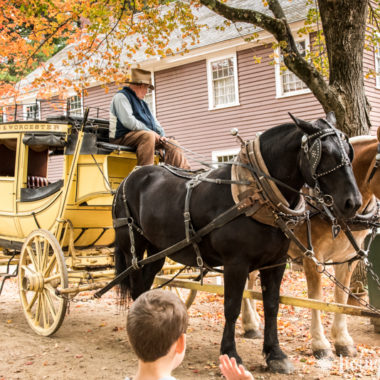 A horse drawn carriage in front of a house