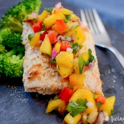 Coconut Crusted Salmon with Mango Pineapple Salsa