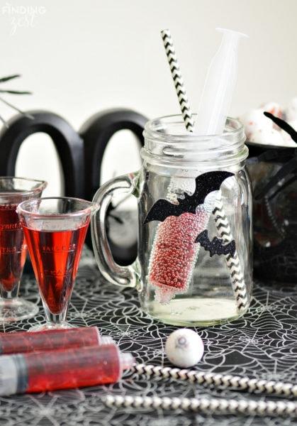 healthy halloween treat black bats and glass