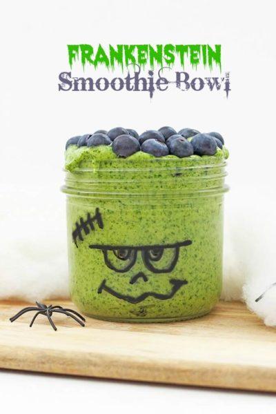 frankenstein green smoothie bowl with blueberries