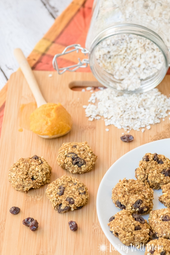Healthy Pumpkin Oatmeal Cookies are just as tasty as the traditional version, but have less sugar and are gluten free and dairy free. This kid and adult-approved recipe is so quick and easy to make, the kids will love helping!