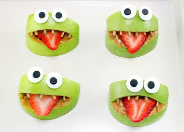 monster fruit green apple frog snacks