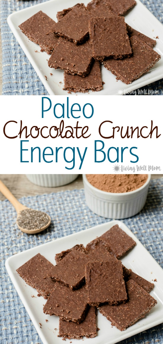 These deliciously crunchy Paleo Chocolate Crunch Energy Bars provide an amazing energy boost! Plus you'll love that this recipe is easy to make and guilt free - there's no refined sugar and the coconut, cacao, and chia seeds all have wonderful benefits!