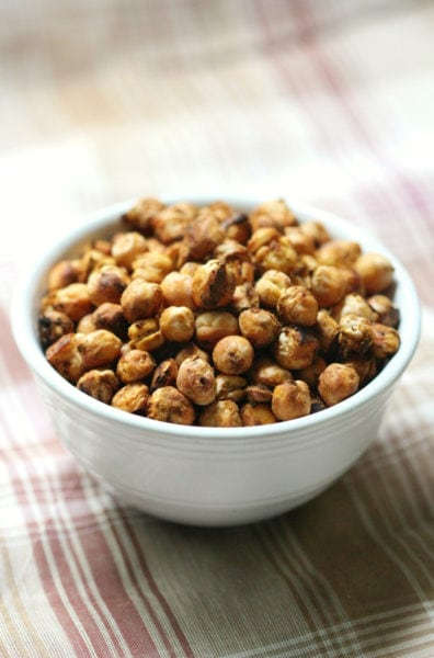 pumpkin spice roasted chickpeas in a white bowl