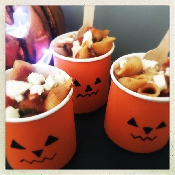 halloween pasta in jack o lantern cups