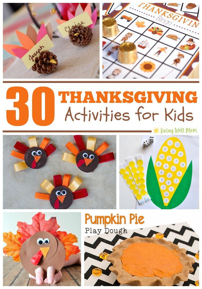 "From a turkey balloon ""rocket"" to playdough pumpkin pies, and even no-mess turkey tag, here's 30 Thanksgiving activities for kids of all ages. There's even ideas to get the whole family involved!"