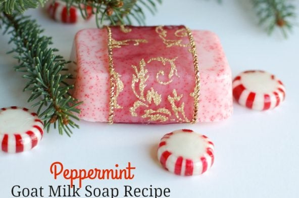 This Peppermint Goat Milk Soap recipe is so pretty and smells amazing. It's easy to make and a perfect homemade gift idea!