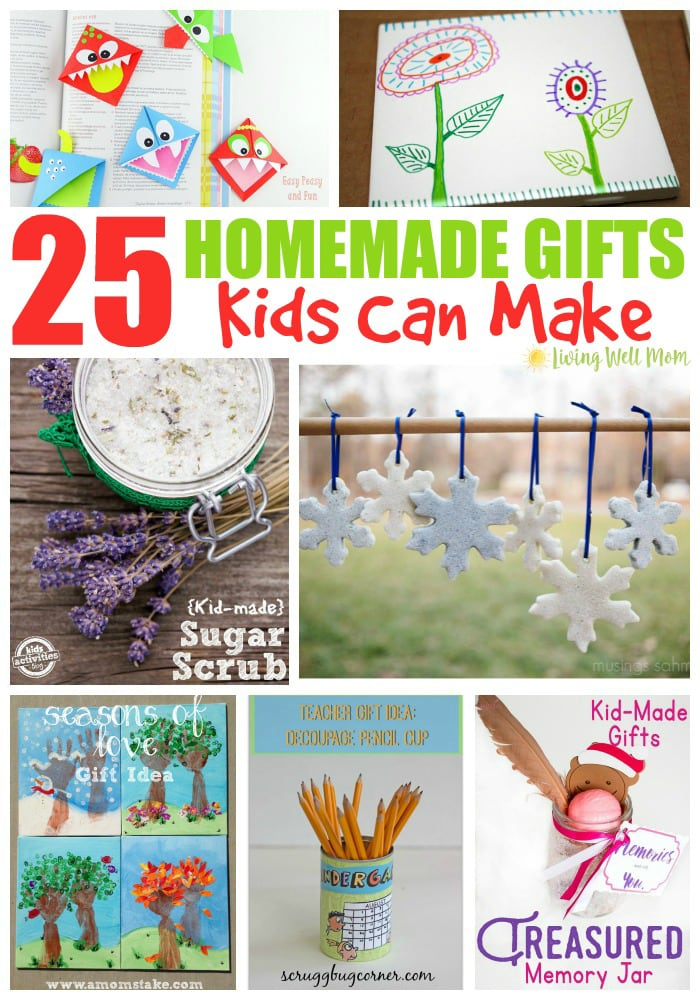 From glitter salt dough snowflakes, friendship bracelets, fingerprint frames, and even fizzy bath bombs, here's inspiration for 25 different homemade gifts kids can make.