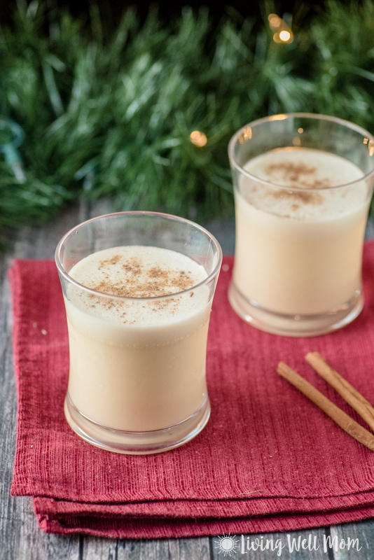 This Dairy Free Eggnog recipe is deliciously creamy and even with no refined sugar, it tastes so much better than store bought eggnog! With almond and coconut milk, this is as fresh and homemade as it gets! (Paleo friendly too)