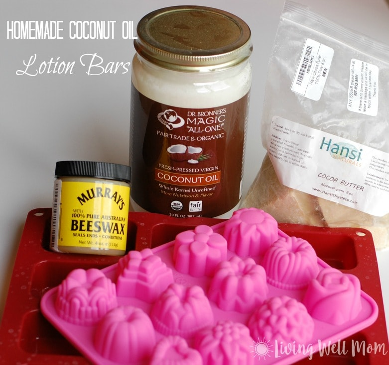 Tired of dealing with dry skin? Try this easy recipe for homemade coconut oil lotion bars. With just 3 all-natural ingredients, it will moisturize even the driest of skin! Plus it's gentle and safe for babies and small children too.