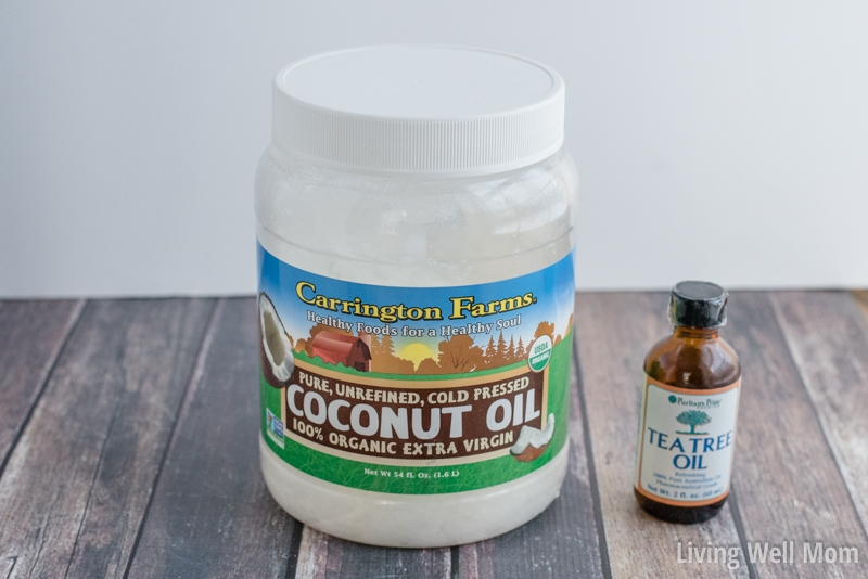 Ingredients for natural flaky scalp treatment - coconut oil and tea tree