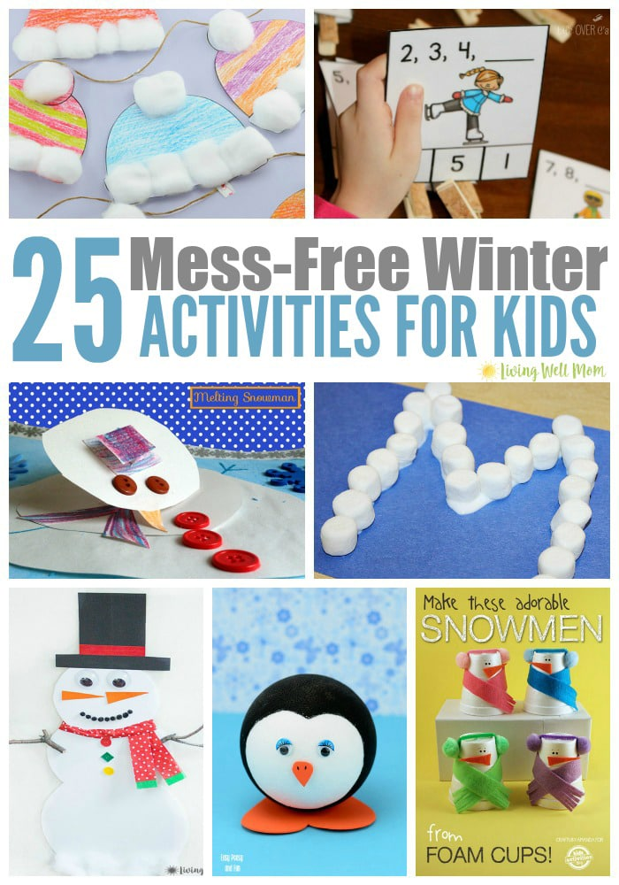 Are cold winter days keeping the kids inside? You need this handy list of Mess-Free Winter Activities for Kids. With 25 fun ideas to choose from, we've purposefully picked less-messy projects so you don't have to add to the mess the kids have probably already made!