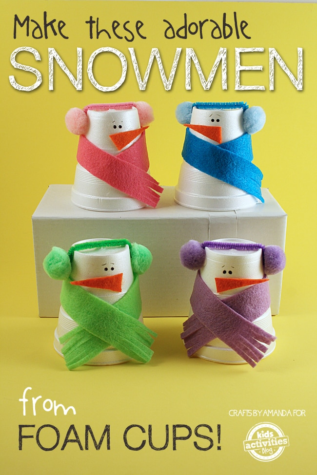 four little DIY plastic cup snowmen