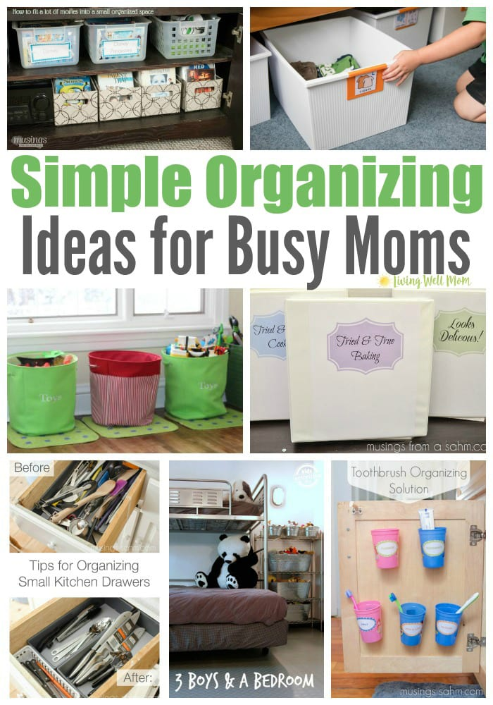 Ready to tackle clutter but not sure where to start? Here's 25+ simple organizing ideas for busy moms from moms that really work. From a simple toothbrush storage solution to getting kids to put their clothes away, these brilliant solutions will give you inspiration to fix those problem areas today.