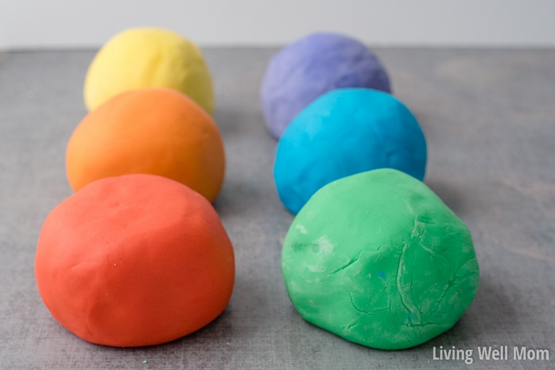6 different colors of playDough