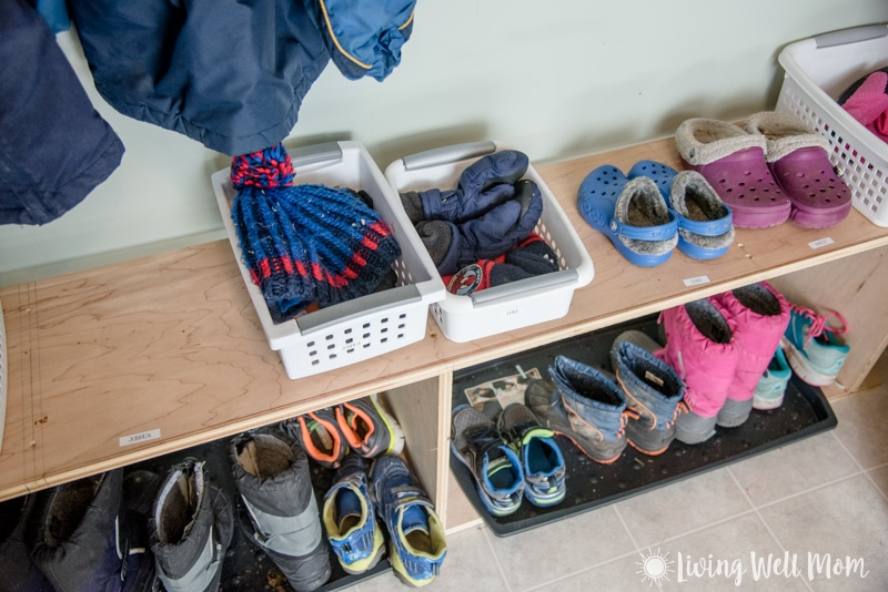 Storage ideas for winter gear hats mittens scarves boots
