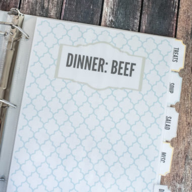 printable recipe binder pages with text that says dinner beef