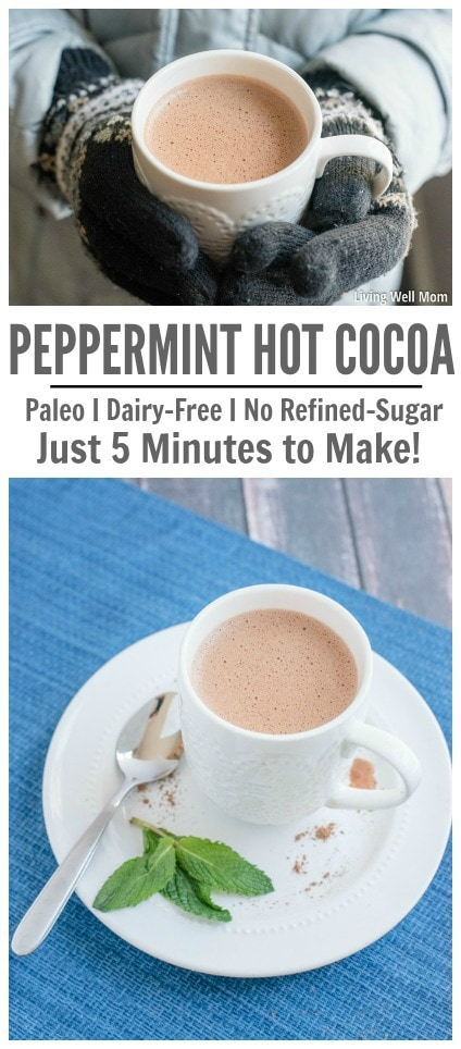 Looking for a healthy delicious homemade hot cocoa recipe? This Peppermint Hot Cocoa is rich, creamy, and so satisfying, you won't believe how easy-to-make it is! Plus it's Paleo-friendly, dairy-free, soy-free, and refined sugar-free. Enjoy!