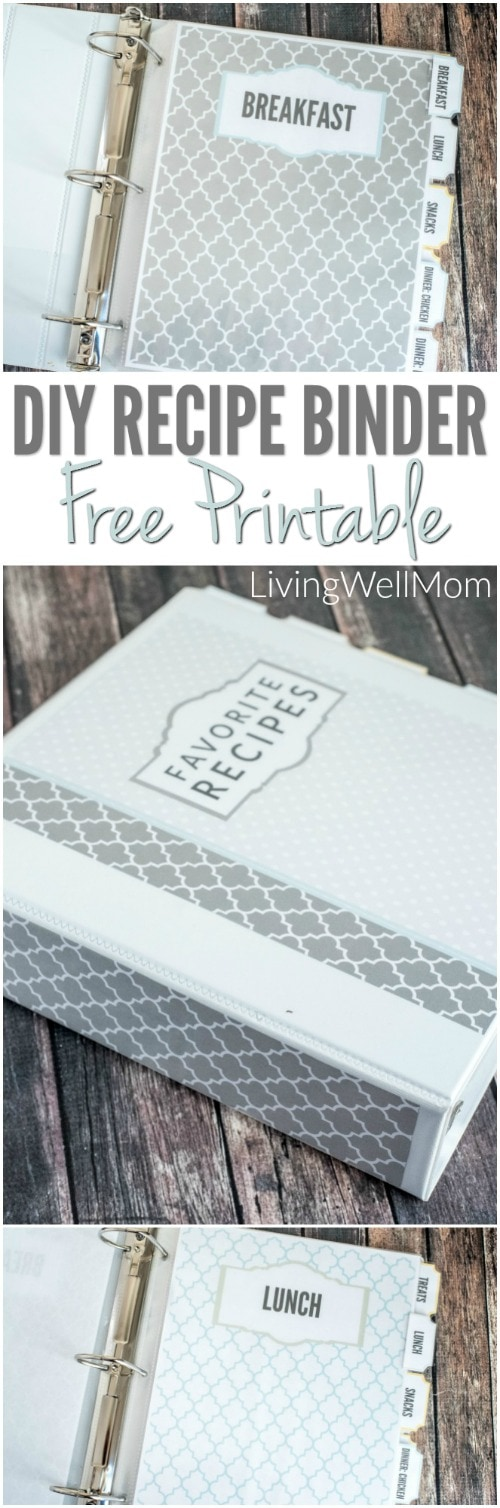 Need to organize all those recipes you've printed out? Find out how to make a pretty DIY recipe binder with these gorgeous FREE PRINTABLE recipe binder graphics! Get your free downloads here....