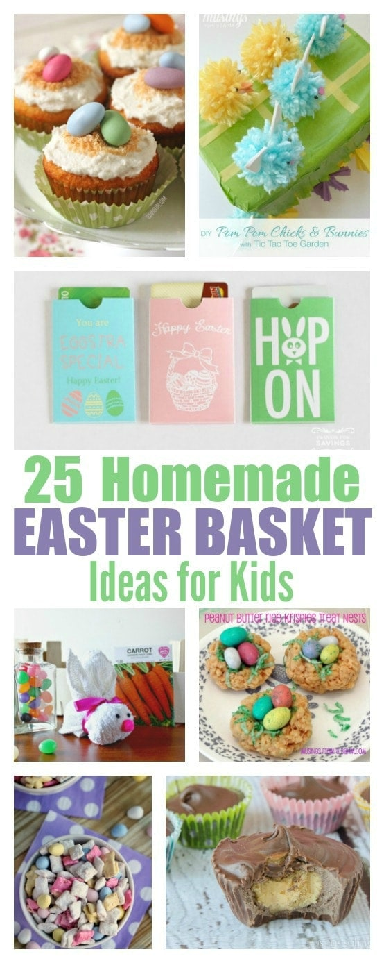 Ready to try something new for Easter this year? Save money and keep it simple with this awesome list of 25 homemade Easter basket ideas for kids. With both tasty treats and fun activities and gifts, kids will love it and so will you!
