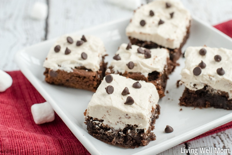 """Hot Cocoa Brownies are chewy and delicious with little bursts of chocolate chunks and a creamy """"marshmallow"""" frosting. No one ever guesses this recipe is Paleo, gluten-free and dairy-free!"""
