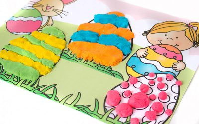 Printable playdough easter egg mat