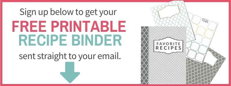 sign up form for printable recipe binder