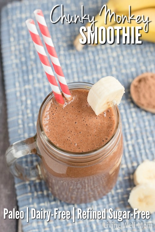 Craving chocolate? This quick-and-easy Chunky Monkey Smoothie recipe is Paleo-friendly with no dairy or refined sugar and satisfies that sweet tooth every time. With just 5 simple ingredients, this dessert smoothie is perfect as an afternoon snack or after dinner treat.