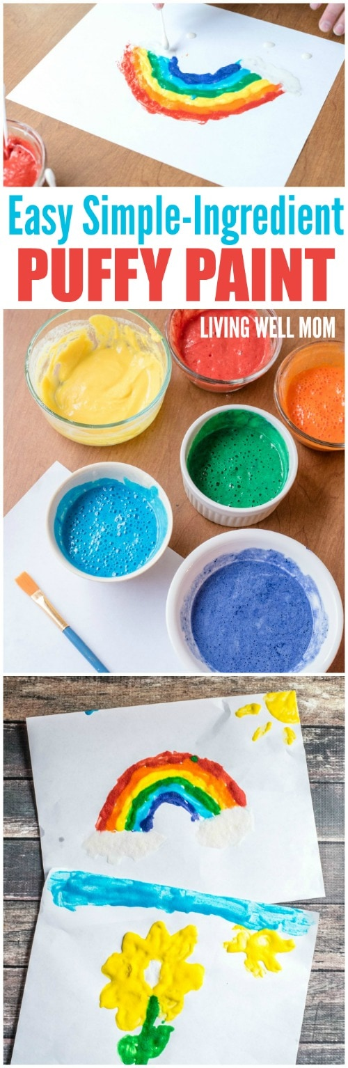 A fun new take on painting for kids - puffy paint! This easy activity requires just a few ordinary ingredients (no shaving cream!) and takes less than 5 minutes to make! Kids of all ages will love creating puffy artwork!