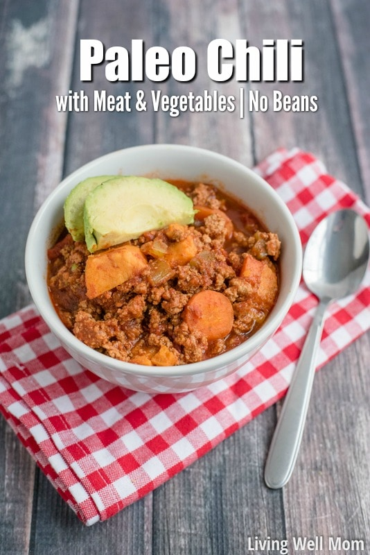 Looking for a simple family meal? Kid-approved, simple-to-make, and lots of leftovers; this Paleo Chili is Mom-approved too! It's packed with so much meat, vegetables, and spice, you won't even miss the beans!