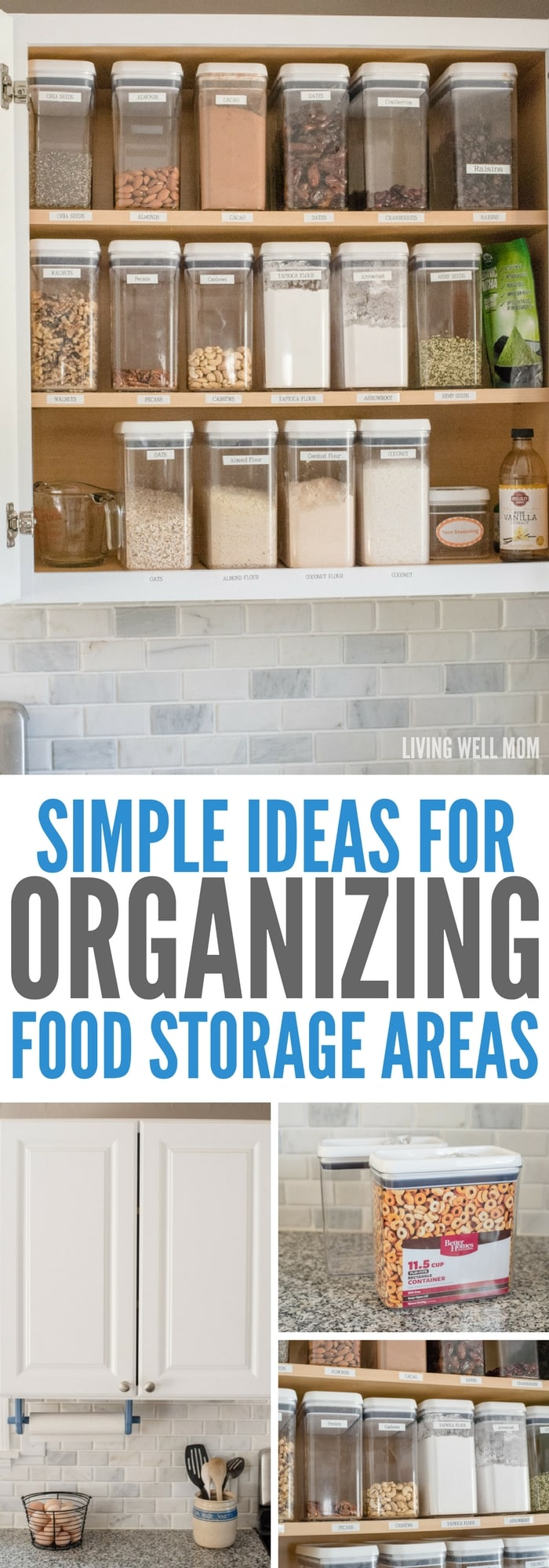 Tired of losing track of what's in your kitchen food cupboards? These two simple tips that will transform how you organize food storage areas & make life so much easier!