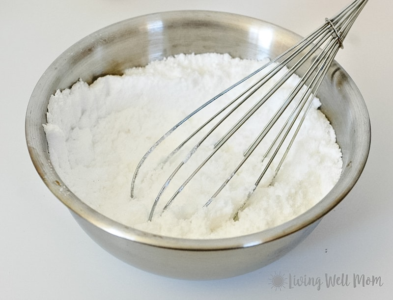 Mixing bowl of baking soda and citric acid
