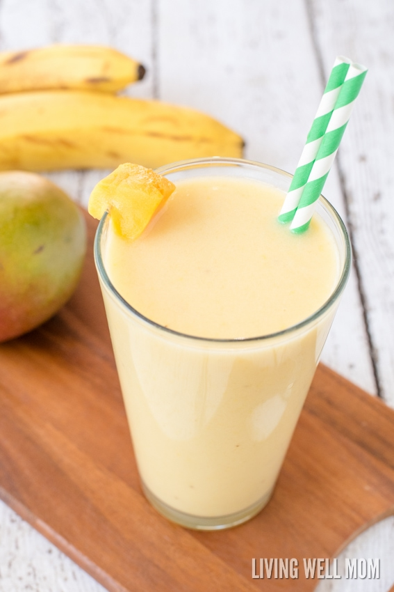 "This Coconut Mango Creamsicle Smoothie has a delicious blend of mango and coconut milk, plus a secret healthy ingredient that adds the ""creamsicle"" factor! Dairy-free, refined sugar-free, Paleo recipe"