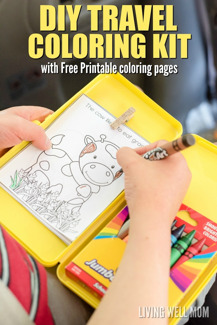 DIY Travel Coloring Kit for Kids with Free Printable Coloring Sheets