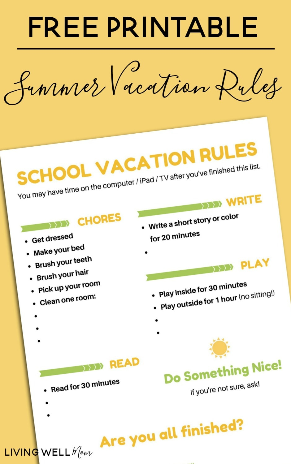 Free Printable Summer Vacation Rules list - this simple chart is customizable (you can even print out an option without any text added) and makes it easy for kids to remember what they're expected to do BEFORE screen time.