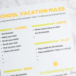Free Printable School Vacation Rules Chart