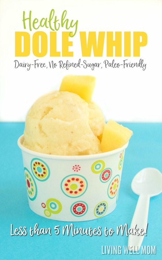 Looking for a healthy satisfying frozen treat? This Healthy Homemade Dole Whip recipe tastes incredible and takes less than 5 minutes to make (no ice cream maker required!) It's dairy-free with no refined sugar and Paleo friendly so this is a frozen treat you can be happy to serve your kids and enjoy yourself! Get the easy recipe here:
