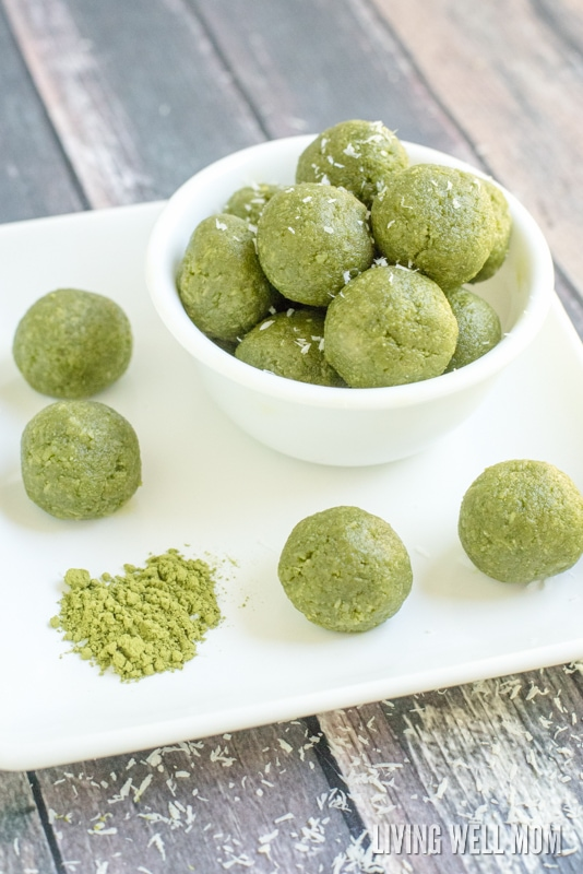 A bowl of matcha green tea energy bites