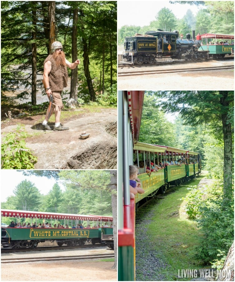 With a little history and a lot of fun, the whole family will have an unforgettable time at Clark's Trading Post in Lincoln, New Hampshire. There's a steam locomotive train ride, live black bear show, water raft ride, the Wolfman, a Mystical Mansion, and so much more! Read our family's review here: