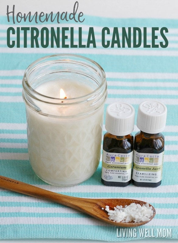 Mosquitoes bugging you? Here's how to make your very own homemade citronella candles with essential oils! These candles do a great job at keeping the pesky bugs away and they're easy to make too! Get the step-by-step photo instructions here: