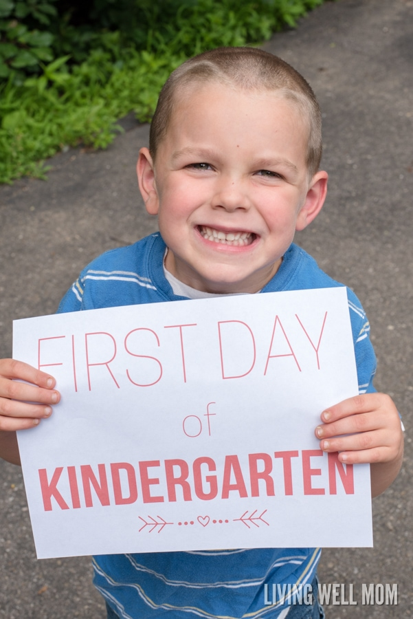 "Free Printable Back to School ""First Day"" signs for grades preschool through 12th grade! This is a great way to easily capture beautiful memories of your children as they head back to school!"