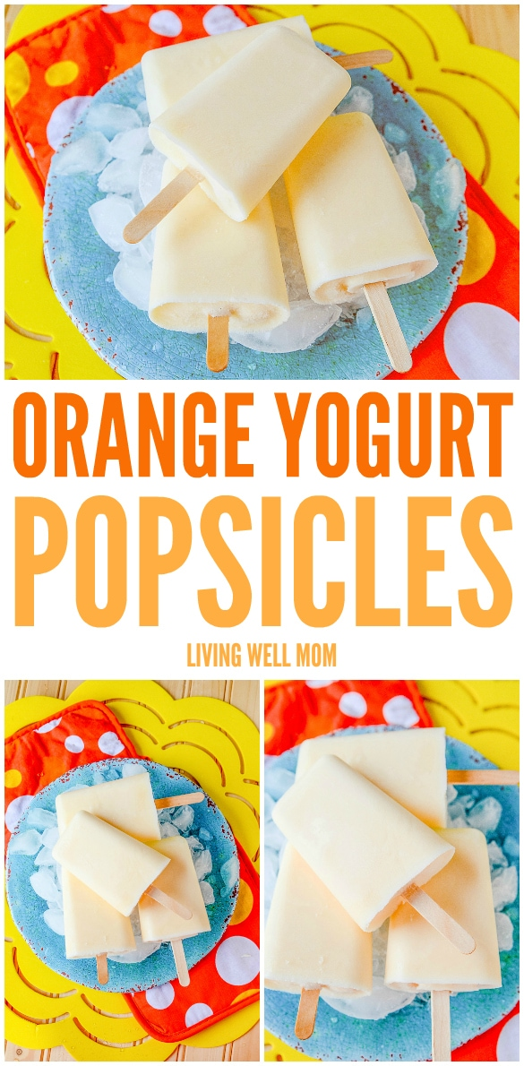 These Orange Yogurt Popsicles are unbelievably easy to make and a satisfying nutritious snack kids of all ages will love. And you'll love how this simple recipe will fill them up, thanks to the added protein from the yogurt!