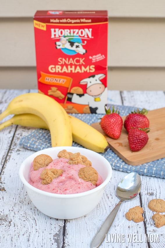This recipe for Strawberry Banana Ice Cream is a wholesome alternative to regular ice cream and so quick and easy, it's ready in 3 minutes! With just 4 simple ingredients, you'll have a delicious snack or dessert everyone will love, especially kids! (There's a no-fuss dairy-free option too!)