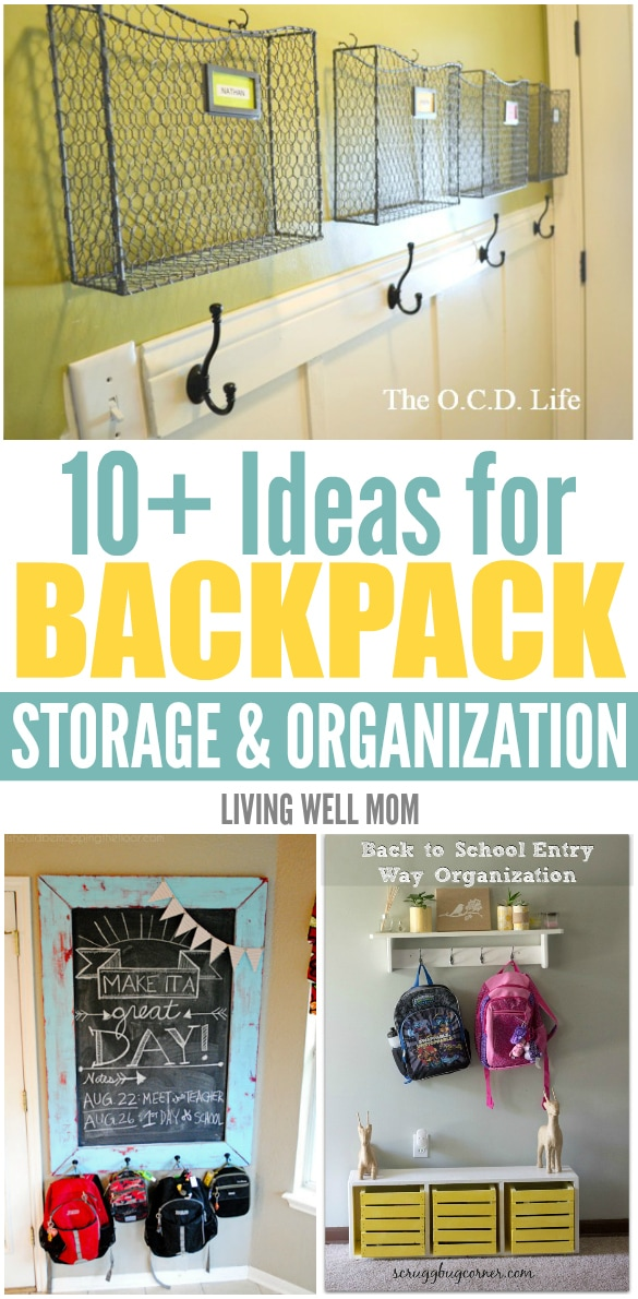 10 ideas for backpack storage and organization living Ideas for hanging backpacks