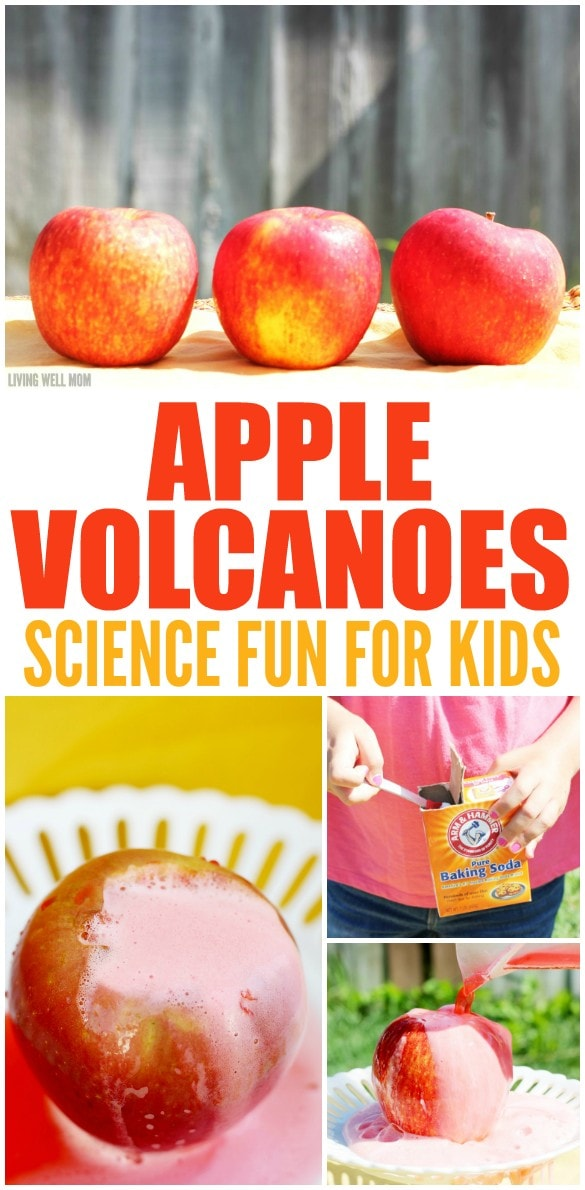"Looking for fall fun with the kids that includes a little science? This fun STEM project allows you to create a foamy ""eruption"" using supplies found in your kitchen. This isn't your average volcano - these are APPLE Volcanoes! Get the easy how-to here:"